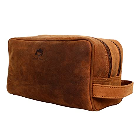 91804e0490a0 Genuine Leather Travel Toiletry Bag - Dopp Kit Organizer By Rustic Town  (Brown)