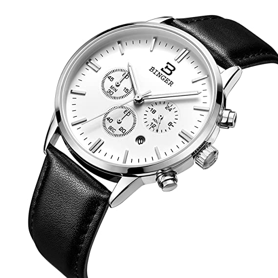 binger Fecha Unisex 24 Hr Online Cronómetro Relojes Cronógrafo para hombre correa de piel reloj luminoso