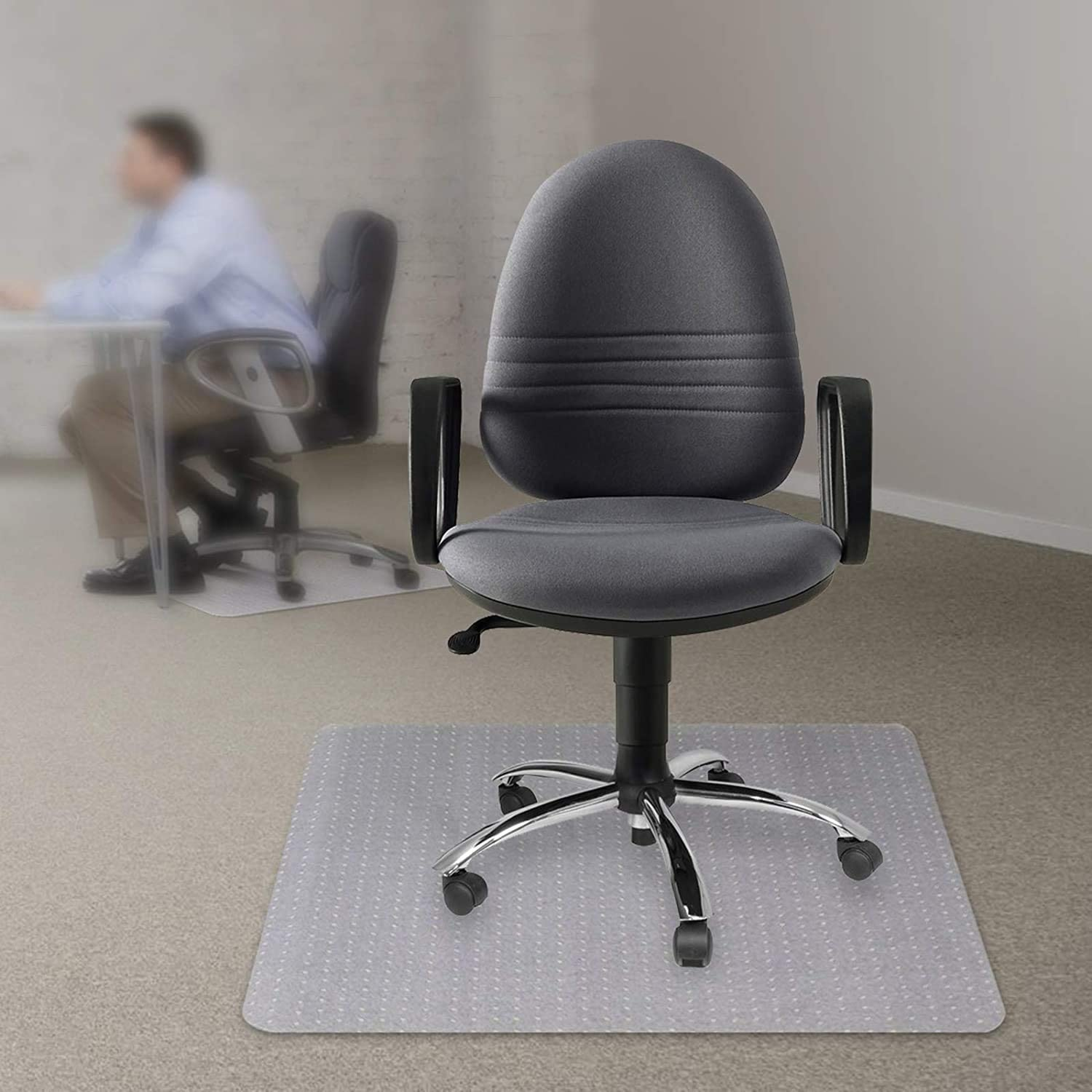 """Kuyal Office Chair Mat for Carpets,Transparent Thick and Sturdy Highly Premium Quality Floor Mats for Low, Standard and No Pile Carpeted Floors, with Studs (30"""" X 48"""" Rectangle): Kitchen & Dining"""