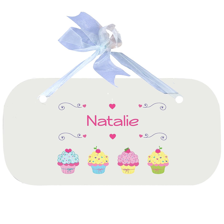 Personalized Cupcake Nursery Door Hanger Plaque with blue ribbon MyBambino