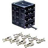 Carling VCH 01 8 Terminal Connector Switch Base With 8x Packard Delphi 630 16-14 Gauge Wire Terminal Connectors