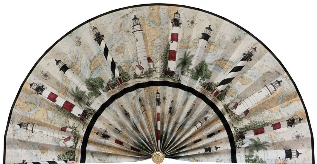 Neat Pleats Decorative Fan, Hearth Screen, or Overdoor Wall Hanging - L504 - Seaside Ocean Lighthouse with Cartographer Map background