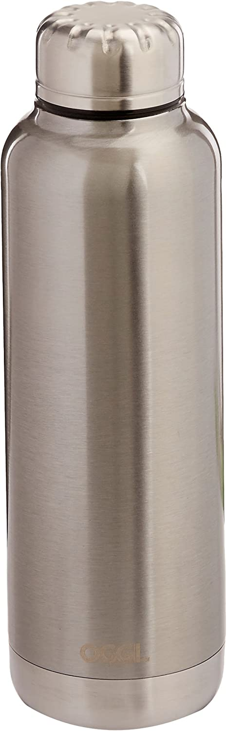 Oggi 8089.0 Sommelier Double Wall Vacuum Sealed Wine Carrier with Stainless Steel Liner, Silver, 25 oz
