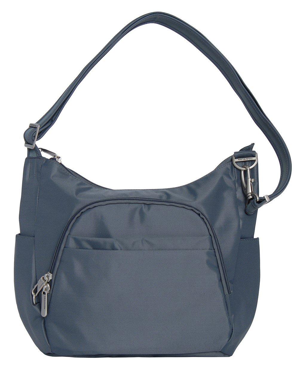Travelon Anti-Theft Classic Crossbody Bucket Bag (One Size, DARK GREY w/CORAL Lining)