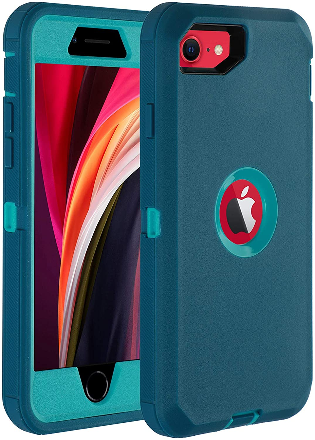 """Co-Goldguard Case for iPhone SE 2020 Heavy Duty Cover 3 in 1 Built-in Screen Protector Durable Cover Dust-Proof Shockproof Drop-Proof Shell for iPhone SE 2nd 4.7""""(Aqua Blue)"""