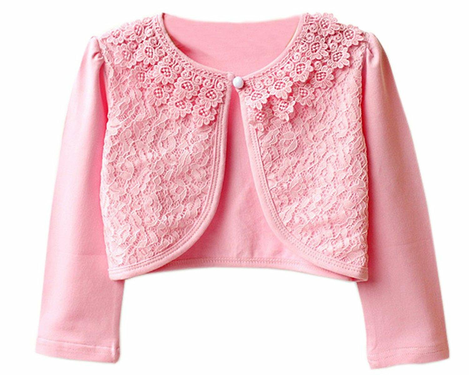 JX Roco Little Girls Long Sleeve Lace Bolero Jacket/Pointelle Shrug Cotton Cardigan Dress Cover Up for Church Wedding Pink,140=7-8years