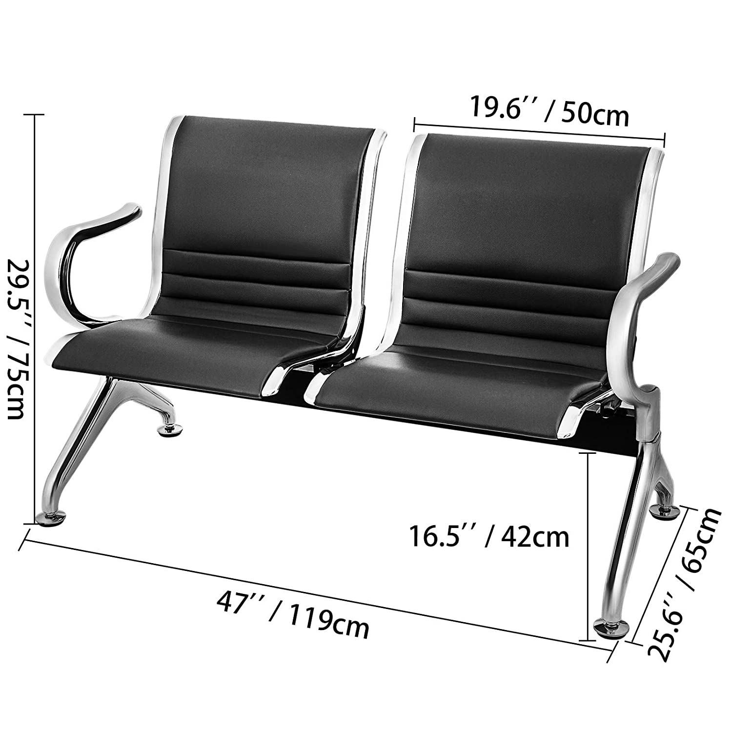 Excellent Vevor Waiting Room Chairs 2 Seat Pu Leather Business Reception Bench Waiting Chairs For Office Barbershop Salon Airport Bank Hospital Market 2 Unemploymentrelief Wooden Chair Designs For Living Room Unemploymentrelieforg