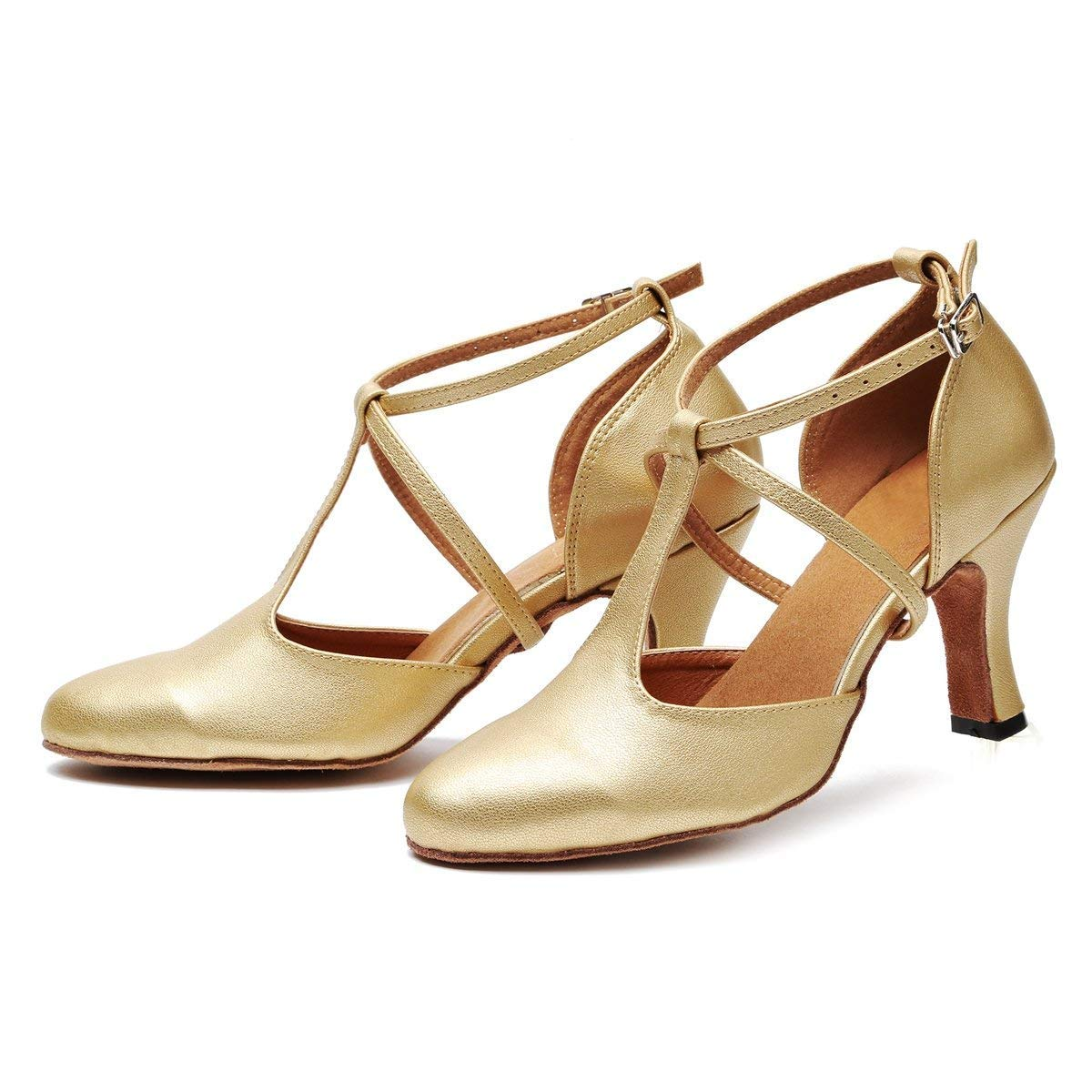 Qiusa Frauen T-Strap Ballroom Latin Salsa Tanzschuhe Gold Braut Braut Gold Hochzeit Pumps UK 4.5 (Farbe   - Größe   -) 25b5f2