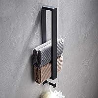 Temgin Handdoekhouder met haak zelfklevende handdoekhouder roestvrij staal zwart 40 CM voor badkamer