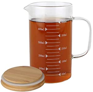 KINNOSE Graduated Beaker Mug with Handle and Durable Bamboo Lid Borosilicate Glass Multi-Function Food Grade Measuring Cup 500ml