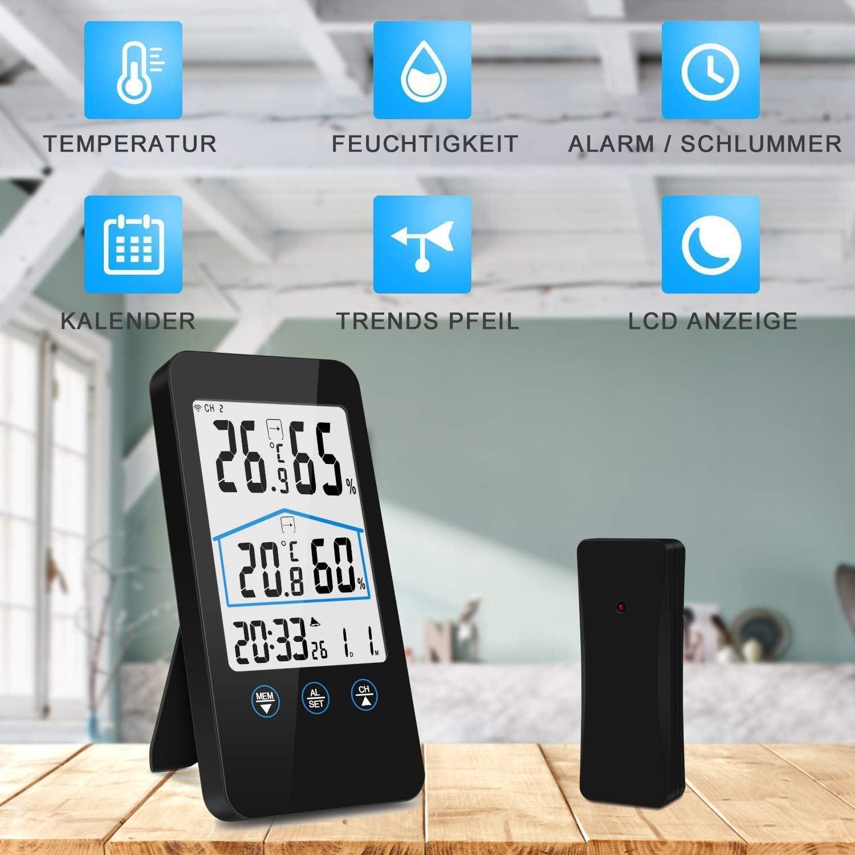 Drahtlose Temperatur Luft Feuchtigkeit mit Au?en Sensor Wei?e Hintergrund Beleuchtung Xigeapg Wetter Station Bildschirm Dr/ücken Au?en Indoor Thermo Hygrometer Thermometer