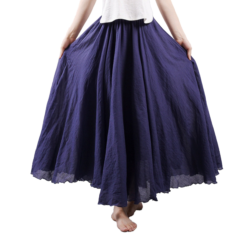Nicetage Women's Bohemian Style Elastic Waist Band Cotton Linen Long Maxi Skirt Dress (Navy Blue)