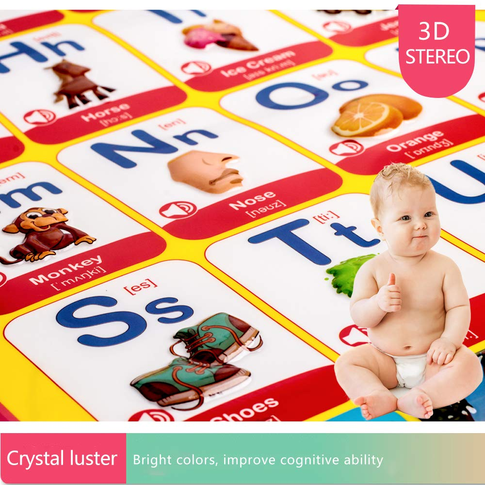 and Music Toys for Toddlers Daycare Educational Toys for Learning ABC Talking Electronic Interactive Alphabet Poster and Enlightenment Flash Cards Animal Kindergarten Boys and Girls Preschool