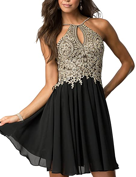 DESHE Womens Chiffon Homecoming Dresses Gold Appliques Short Prom Dresses Black Size 2