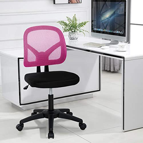 Mesh Office Chair No Arms Swivel Desk Chair