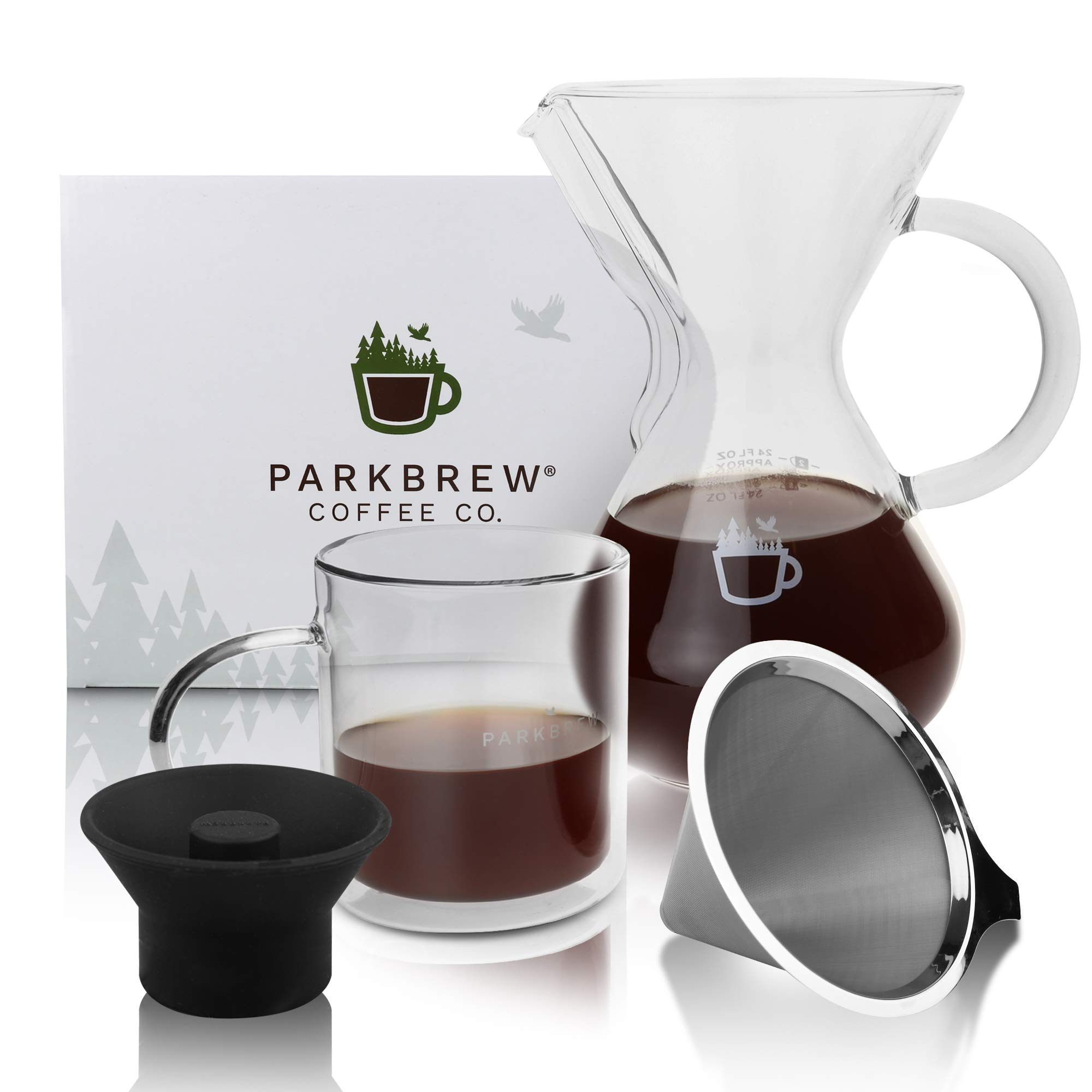 ParkBrew Pour Over Coffee Maker - kit includes coffee carafe (up to 27 fl. oz.), reusable coffee filter or coffee dripper, carafe lid, and double wall glass coffee mug