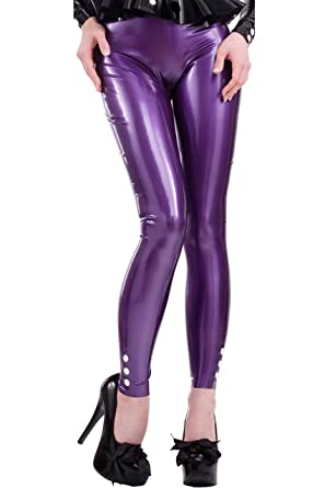 0e44f52909d194 Button Leggings, Pearl Sheen Purple with White Trim. at Amazon Women's  Clothing store: