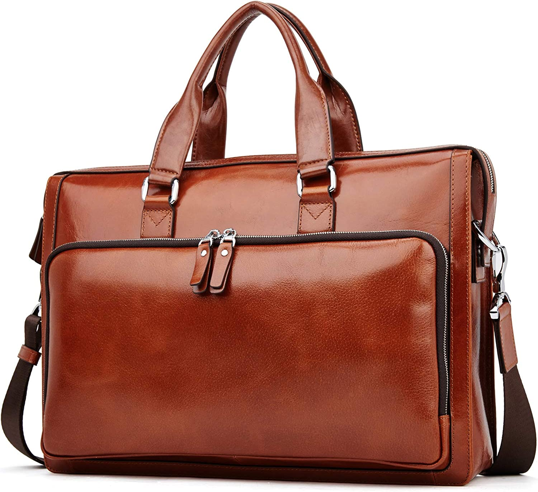 MANTOBRUCE Leather Briefcase Shoulder Laptop Business Travel Vintage Simple Messenger Bag Duffel Bag for Men Women