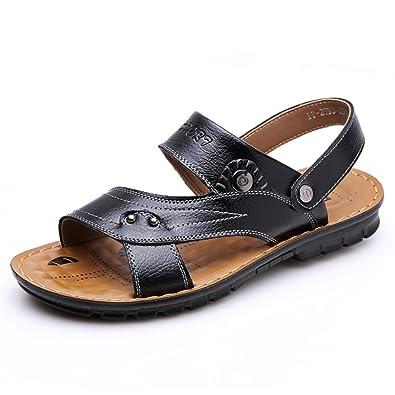 Men Sandals Split Leather Fashion Vintage Flat Heels Solid Beach Shoes