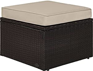 Crosley Furniture KO70091BR-SA Palm Harbor Outdoor Wicker Ottoman with Sand Cushion, Brown