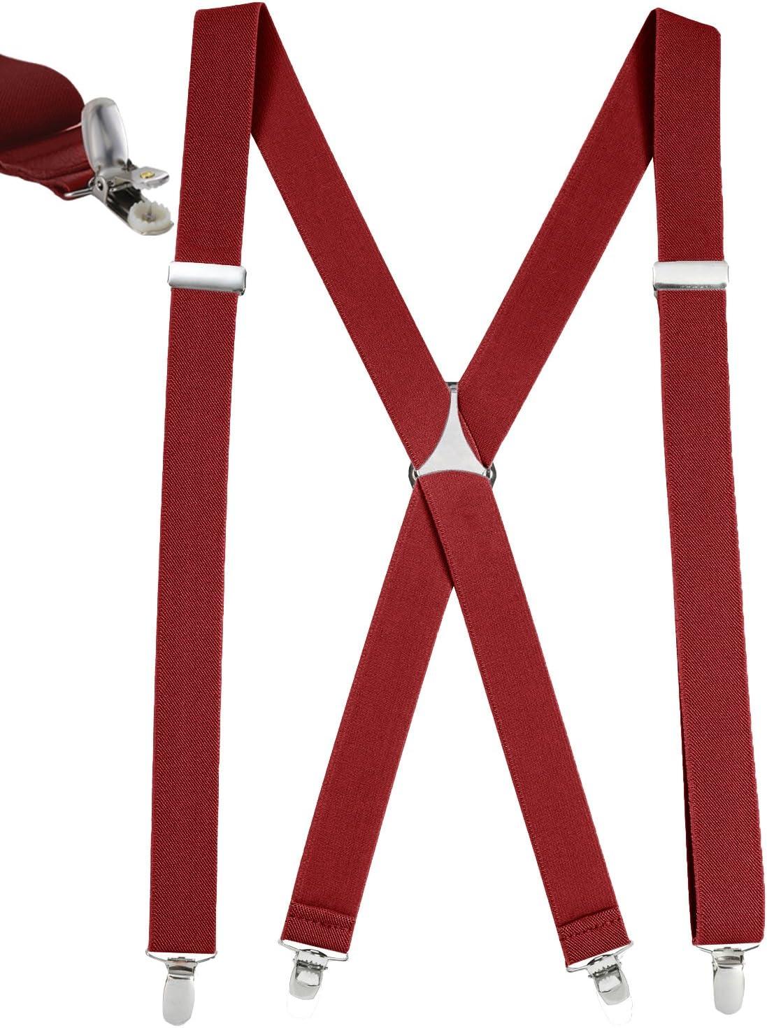 Regular, 46 Long Mens Elastic X Back No SlipPin Clip Straight Clip Suspenders Navy