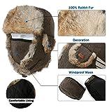 Mens Womens 29% Wool Rabbit Fur Winter Hunting Mask Bomber Trapper Flaps Cap Ushanka Russian Hat Black