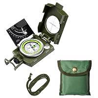 ENKEEO Bussola Multifunzione Militare Compasso Professionale Metallo Disegno Luce Fluorescente Portatile per Caccia Geologia Campeggio Escursione Avventura