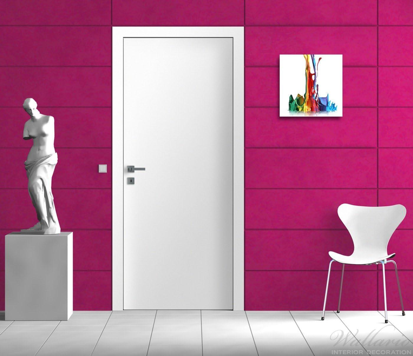 freischwebende Optik Wallario 2er Set Acrylglasbild Farbklecks von Links Bunte Farben auf Abwegen 2 x 50 x 50 cm in Premium-Qualit/ät: Brillante Farben