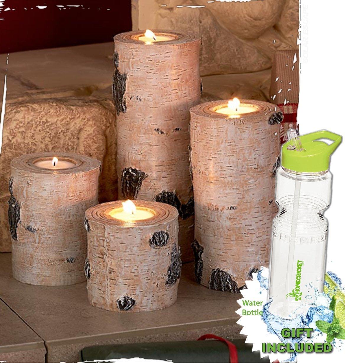 Gift Included- Nature Scene Set of 4 Tea Light Holders Woodland Tea Light Candleholders + FREE Bonus 23 oz Water Bottle byHomecricket