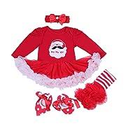 BabyPreg Baby Girls My First Christmas Santa Costume Party Dress 4PCS (S for 3-6 Months, Christmas Santa Long Sleeves)