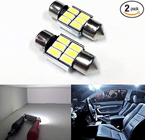 Facibom 2x 31mm 6 SMD 1210 LED Blue Car Festoon Interior Dome C5W 239 Light Lamp Bulb