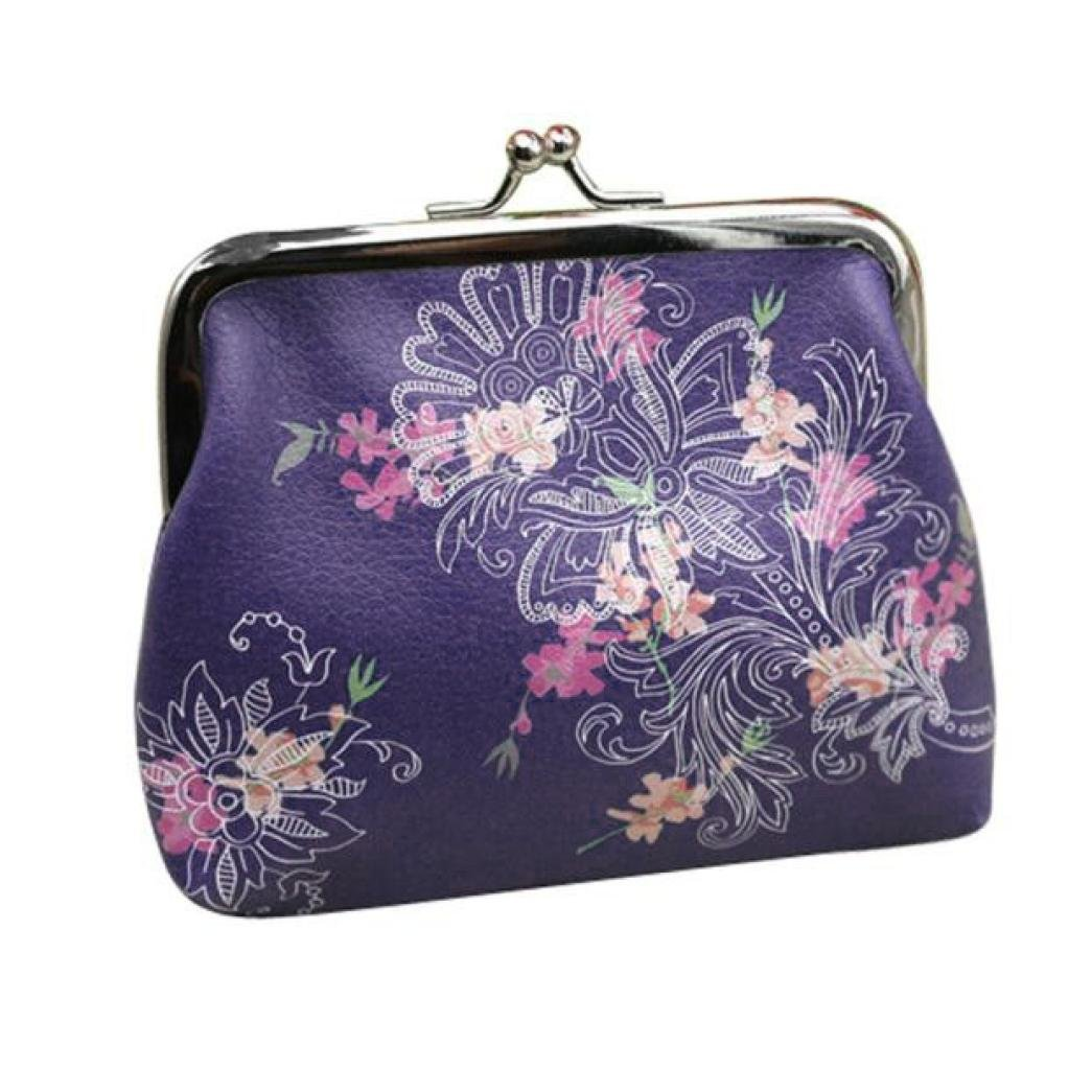 Hot Sale!Womens Vintage Floral Small Wallet Card Holder Buckle Coin Purse Clutch Handbag