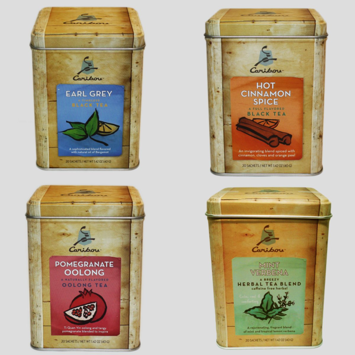 Caribou Tea Tins 20 - Sachets per Tin (4 Flavor Tea Sampler) by Caribou Coffee