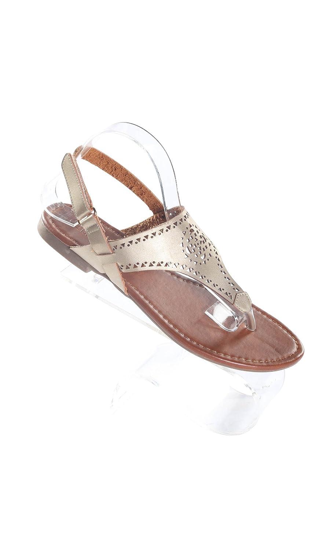 Women's Gold Velcrow Strap Thong Flat Sandal B01LWTMHK6 6 B(M) US