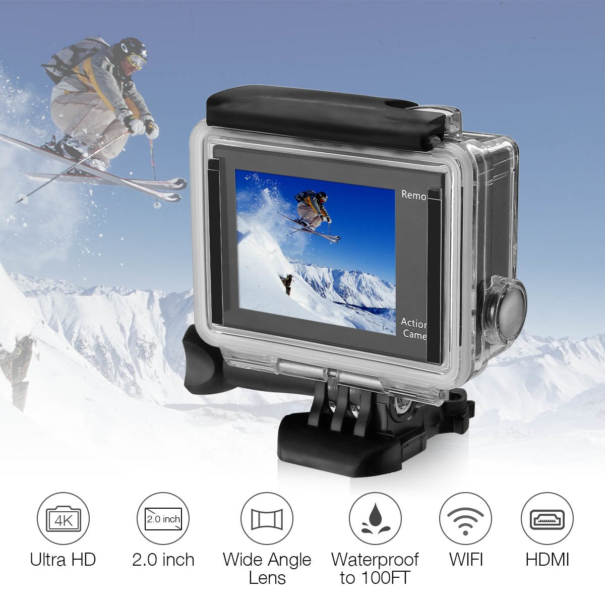 Powerextra EK7000 Cámara de Acción 4K Wifi, Con Carcasa Sumergible, 1080P, 12MP, Lente Gran Angular 170º,Doble pantalla LCD 2.4G con Control Remoto -26 Kit de Accesorios Inlcuido, Color Negro