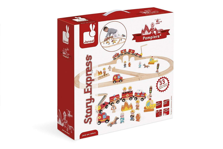Janod Set Sapeurs-Pompiers Story-Train de LExpress J08539