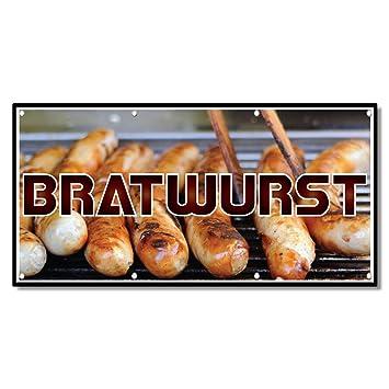 Amazon.com : Bratwurst Restaurant Café Bar 13 Oz Vinyl Banner Sign With Grommets 4 Ft X 8 Ft : Office Products