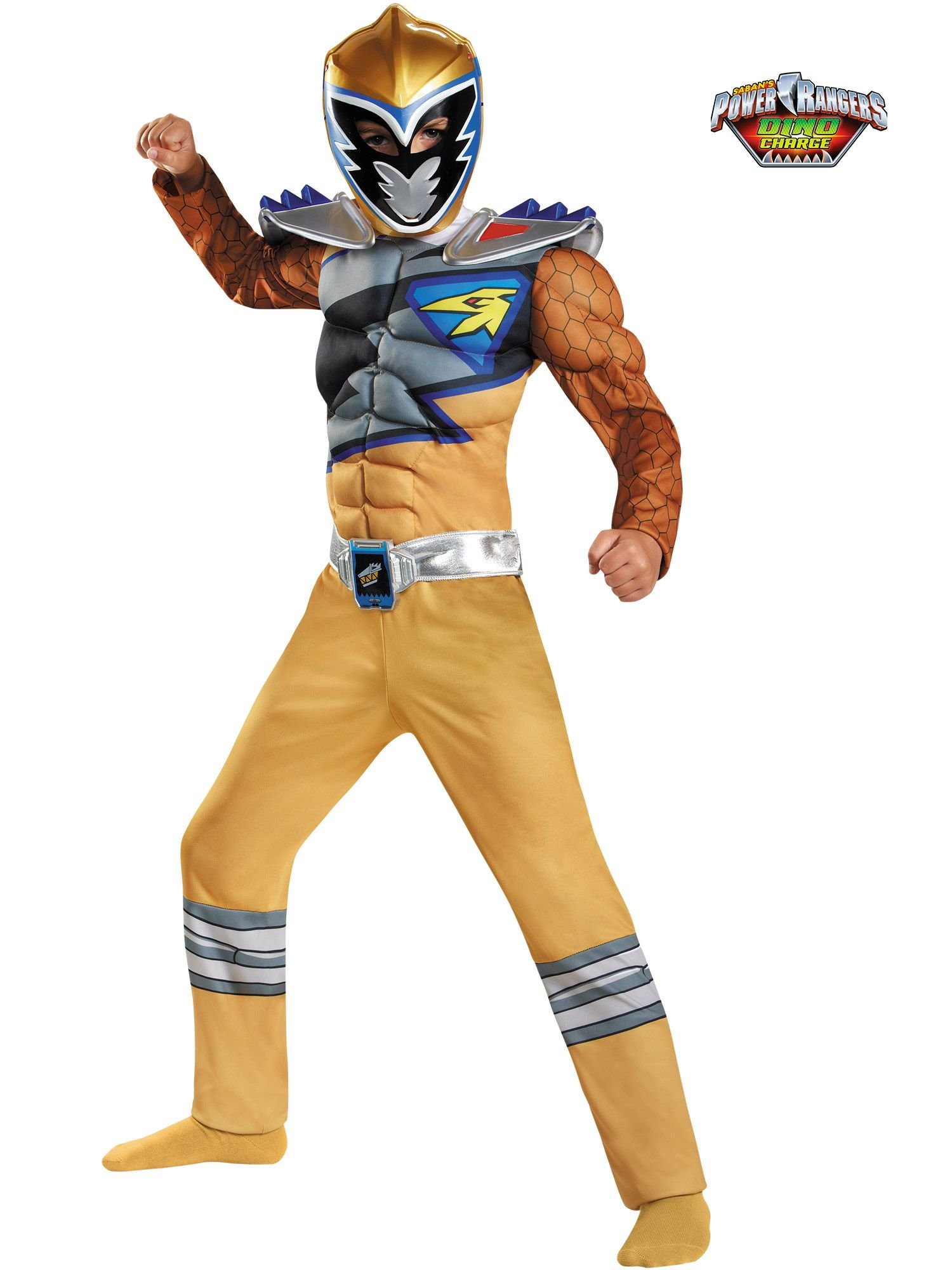 Disguise Gold Ranger Dino Charge Classic Muscle Costume, Small (4-6)