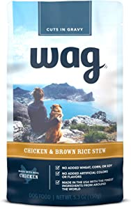 Amazon Brand - Wag Wet Dog Food Topper (Chicken/Lamb and Brown Rice Stew), 5.3 oz Pouches (Pack of 24)