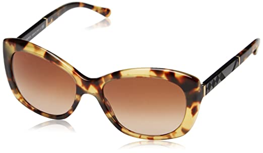 BURBERRY Damen BE 4164 Schmetterling Sonnenbrille, 327813, Light Havana, Brown Grad