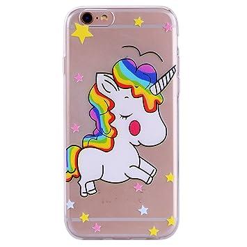 Funda iPhone 6s, CXTcase Suave Carcasa iPhone 6 TPU Bumper Silicona Gel Transparente Case Cover Funda para Apple iPhone 6 / iPhone 6s Unicornio Case