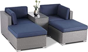 Skiway 5 Piece Patio Furniture Sets Outdoor Lounge Chair PE Wicker Rattan Sectional Sofa with Glass Table (Dark Blue Cushion)