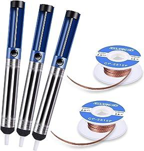 TABIGER Desoldering Wick & Desoldering Pump, 3 Pcs Solder Sucker & 2 Pcs Solder Wick(2.5mm Width, 1.5m Length), Solder Remover Kit for Desoldering