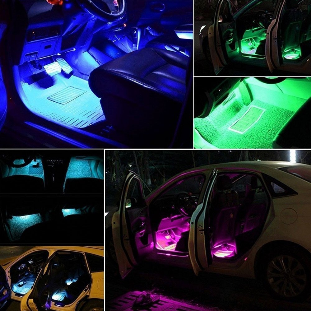 HOUTBY 4 x 12 LED Remote Control RGB Car Underbody Interior Floor Atmosphere Light Strip Neon Flashing