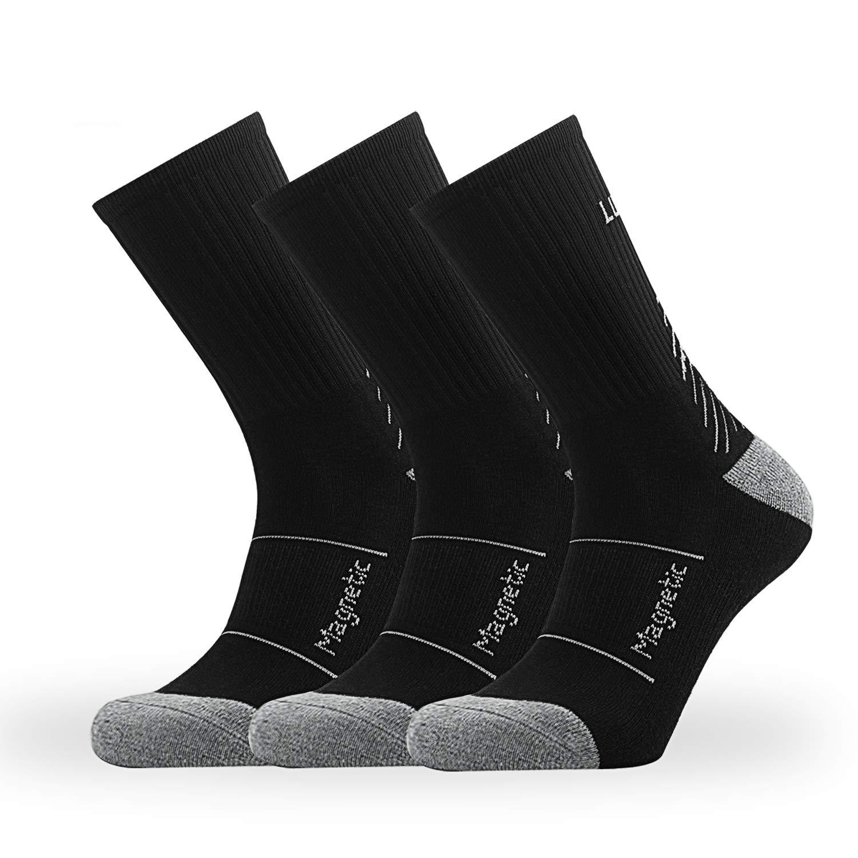 JIMROZ Mens & Womens Anti Blister Cushion Crew Socks for Hiking & Outdoor Sports,3 Pairs
