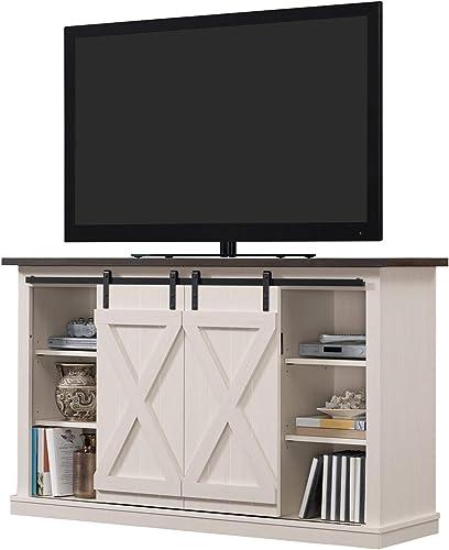 UNIVERSAL LTD Sliding Barn Door TV Stand Entertainment Center Flat TV Up to 60 Inch Wooden