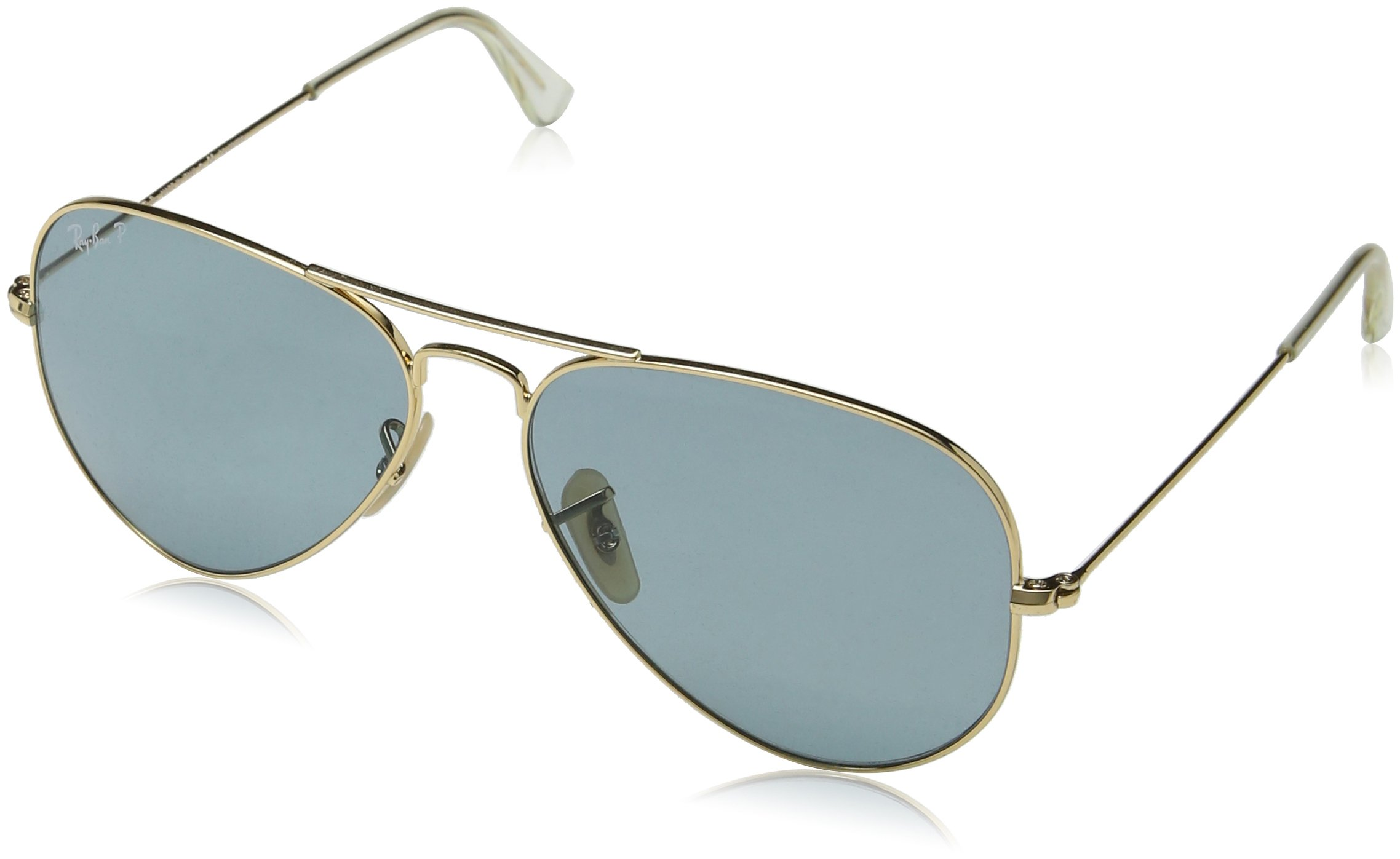 Ray-Ban 3025 Aviator Large Metal Non-Mirrored Polarized Sunglasses, Gold/Green, 55mm by Ray-Ban (Image #2)