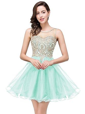 Babyonline Aqua Lace Organza A-line Homecoming Dresses Zipper Prom Gown