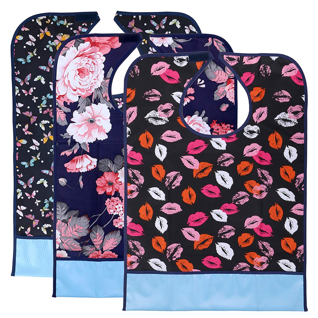 Sumnacon Reusable Waterproof Adult Bibs 3 Pack with Crumb Catcher- Machine Washable, Large Extra Long Mealtime Protector, Dining Bibs with Crumb Catcher(Lip-Prints+Flower+ Butterfly)
