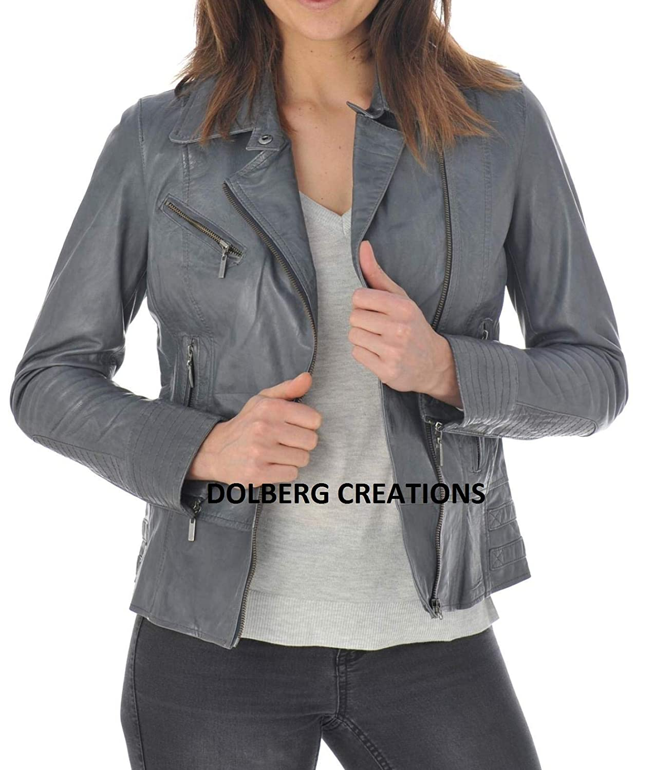 Greys4 DOLBERG CREATIONS Sheepskin Leather Jacket Womens